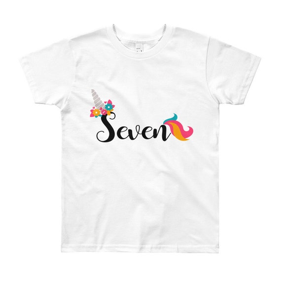 Unicorn 7th Birthday Shirt Girl Floral Seventh