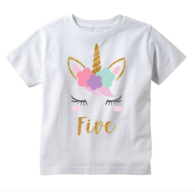64857e94b60a7 Les filles licorne 5e anniversaire T-Shirt cinq ans cadeau