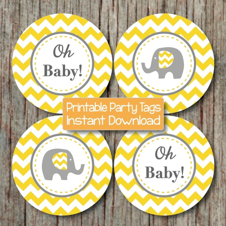 Yellow Grey Chevron Baby Shower Decorations Printable Party Etsy