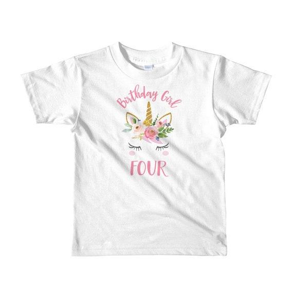 Unicorn 4th Birthday Shirt Boho Girl