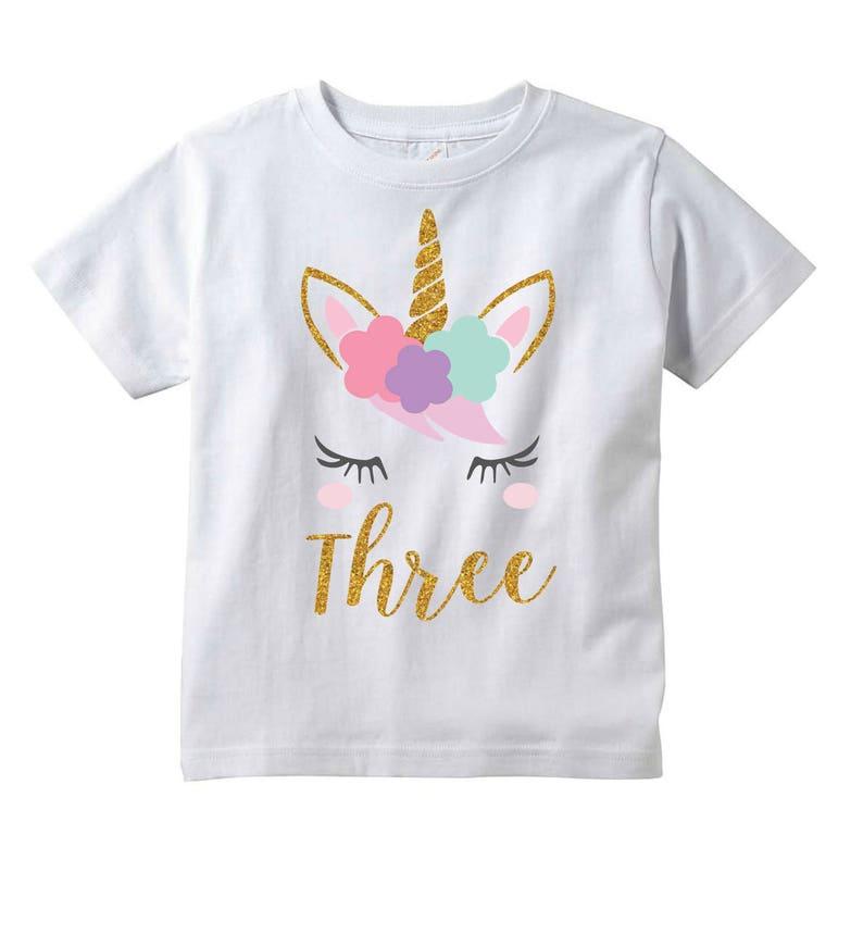 Girls Unicorn 3rd Birthday Shirt Three Year Old Gift