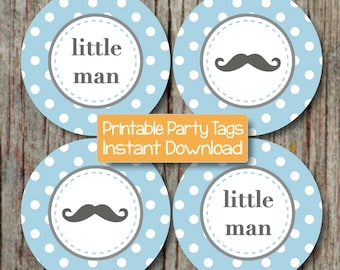 Mustache Baby Shower Mustache Cupcake Toppers Printable Party Little Man Cupcake Toppers DIY Party Toppers Boy Powder Blue Grey Digital -030