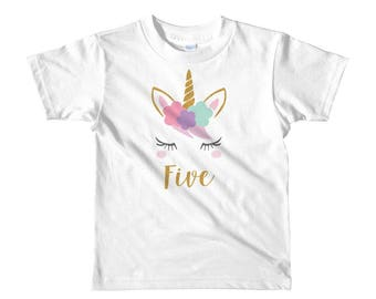 Girls Unicorn 5th Birthday T-Shirt, Five Year Old Unicorn Gift, Fifth Birthday Unicorn Outfit