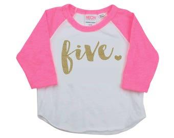 5 Year Old Birthday Shirt Girl Five Year Old Birthday Shirt Birthday Girl Outfit Raglan Toddler Shirt 5th Birthday Shirt 102