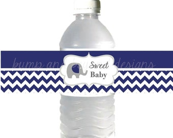 Baby Boy Water Bottle Labels Elephant Sweet Baby Shower Favors INSTANT DOWNLOAD Navy Blue Chevron 050