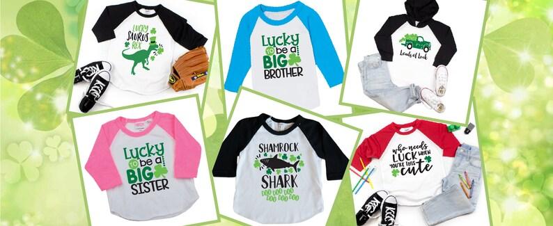 Boys and Girls St Patrick/'s Day Shirt Lucky Saurus Rex Toddler and Kids Matching Dinosaur Shirts