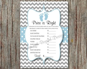 Price is Right Baby Shower Game Instant Download DIY Baby Shower Games Printable Powder Blue Grey Chevron PDF Baby Feet - 018
