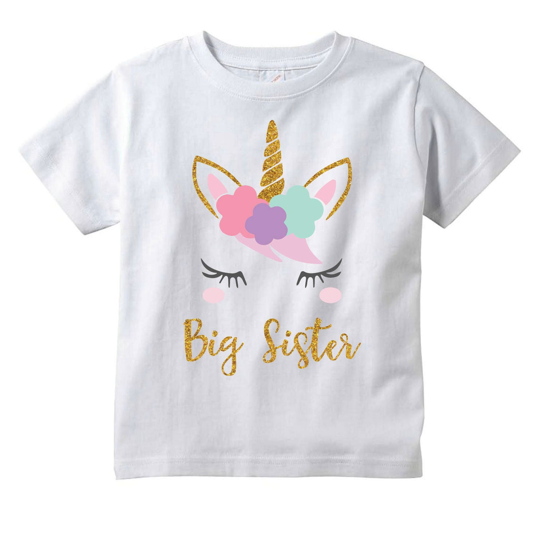 GIRLS PERSONALISED BIG SISTER UNICORN T-SHIRT KIDS T SHIRT TOP GIFT AGES 1-12