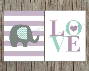 Nursery Wall Art Decor Elephant Purple Blue Printable Girl Nursery Kid Bedroom Wall Art Digital Printable PDF Love Instant Download Baby 004