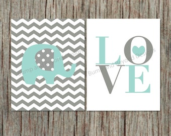 Elephant Wall Art Nursery Decor Printable Nursery Wall Art Boy Kid Bedroom Light Teal Grey Chevron Printable PDF Love Instant Download 011