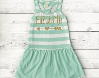 Personalized Toddler Dress, Baby Girl Racer Back Summer Tank Top Dress, Baby Girl Clothes, Toddler Girl Gift 019