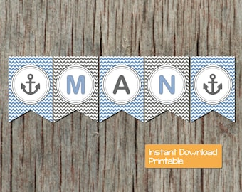Ocean Blue Grey Chevron Nautical Anchor Little Man Printable Baby Shower Banner It's A Boy DIY Party Decorations Boy Instant Download 043