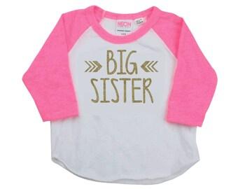 Big Sister Shirt Pregnancy Announcement Shirt Baby Girl Sibling Shirts New Baby Announcement Shirt Big Sister Toddler Raglan 015