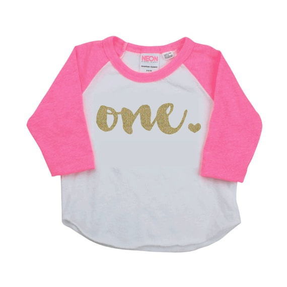 First Birthday Shirt 1 Year Old Girl One