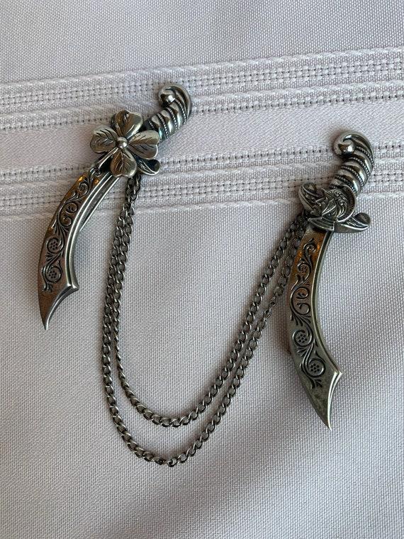 Sterling Silver Scimitar Swords Sweater Guard Pin