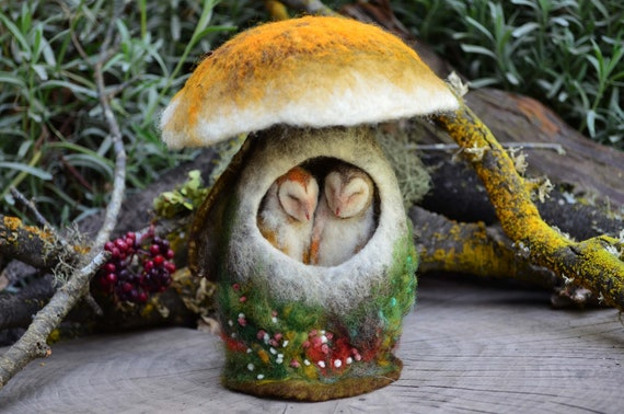 Needle Felted Barn Owls Sleeping in Mushroom - by Harthicune