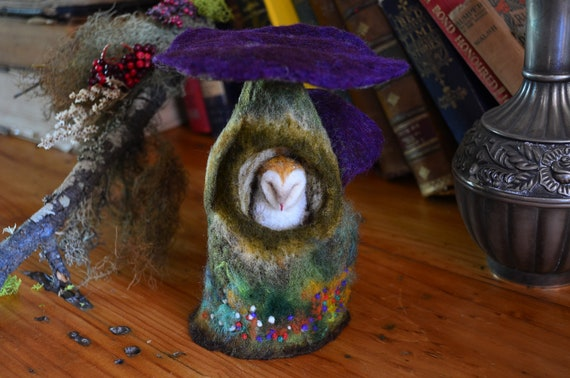 Needle Felted Barn Owl Sleeping in Mushroom - by Harthicune