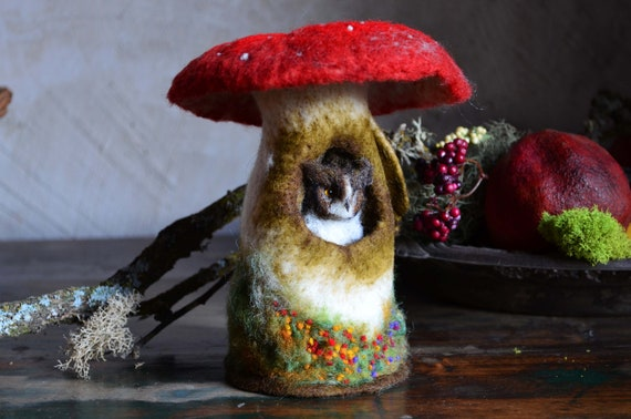 Needle Felted Great Horned Owl Sleeping in Mushroom - by Harthicune