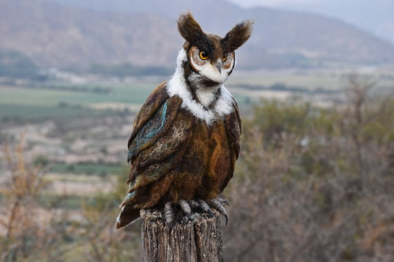Needle Felted Great Horned Owl - by Harthicune