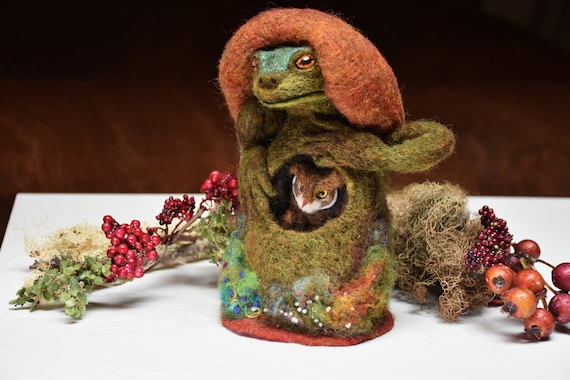 Needle Felted Owl sleeping in stomach of creture Frog-Witch- Mushroom - by Harthicune