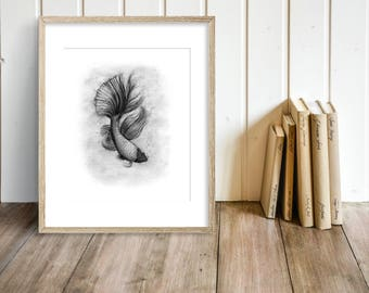Siamese Fighting Fish Charcoal Drawing GICLEE Art Print - Betta Fish - Fish Decor - Black and White Wall Art - Bathroom Art Decor