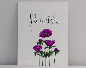 Flourish Hand Lettering Fine Art, No. 1 / Botanical Painting, Floral Art, Fine Art, Original Painting, Wall Art, Canvas Art, Acrylic