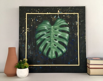 Monstera Deliciosa Fine Art No. 2, / Botanical Painting, Fine Art, Geometric Art, Original Painting, Wall Art, Canvas Art, Acrylic