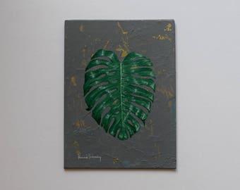 "Monstera Deliciosa Fine Art, ""Mini Monstera Deliciosa No. 2"" / Botanical Painting, Fine Art, Original Painting, Wall Art, Canvas Art"
