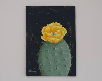 "Cactus Fine Art, ""Mini Cactus No. 2"" / Botanical Painting, Fine Art, Prickly Pear, Original Painting, Wall Art, Canvas Art, Acrylic"