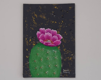 "Cactus Fine Art, ""Mini Cactus No. 1"" / Botanical Painting, Fine Art, Prickly Pear, Original Painting, Wall Art, Canvas Art, Acrylic"