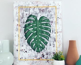 Monstera Deliciosa Fine Art, / Botanical Painting, Fine Art, Geometric Art, Original Painting, Wall Art, Canvas Art, Acrylic