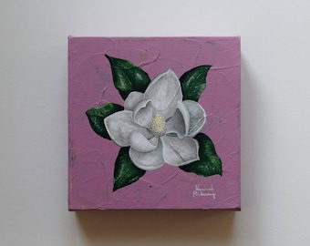 "Magnolia Fine Art, ""Mini Magnolia No. 2"" / Botanical Painting, Fine Art, Original Painting, Wall Art, Canvas Art, Acrylic"