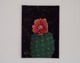 "Cactus Fine Art, ""Mini Cactus No. 3"" / Botanical Painting, Fine Art, Prickly Pear, Original Painting, Wall Art, Canvas Art, Acrylic"