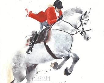 "Original watercolor painting horse jumping with jockey home decor wall decor kids room decor 10x13"""