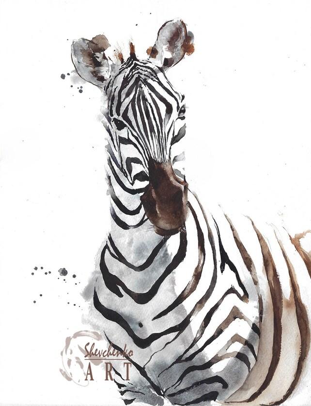 Original watercolor painting zebra head portrait home decor | Etsy