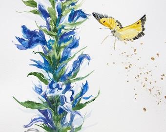 "Butterfly original painting watercolor wall art gentian flower golden accent home decor 9x12"""