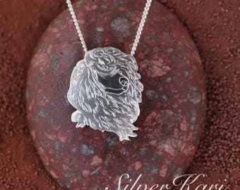 Portuguese Waterdog, a pendant on a chain, all in sterling silver