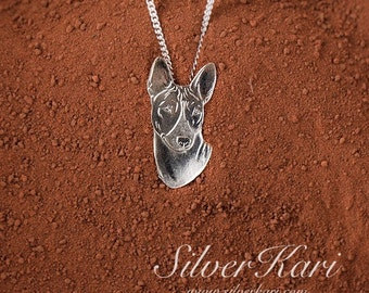 Basenji, necklace with a pendant in sterling silver