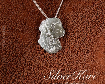 Golden Retriever, a pendant on a chain, all in sterling silver