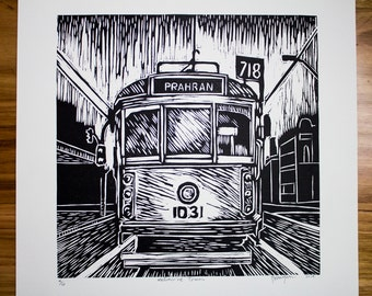 Linocut print of a Melbourne Tram.