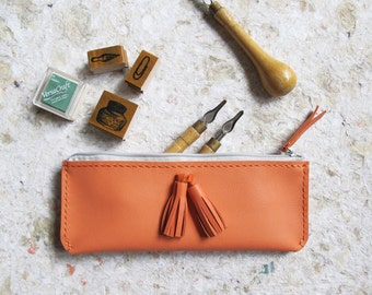 Personalized Leather Pencil Case With Tassels, Hand stitched