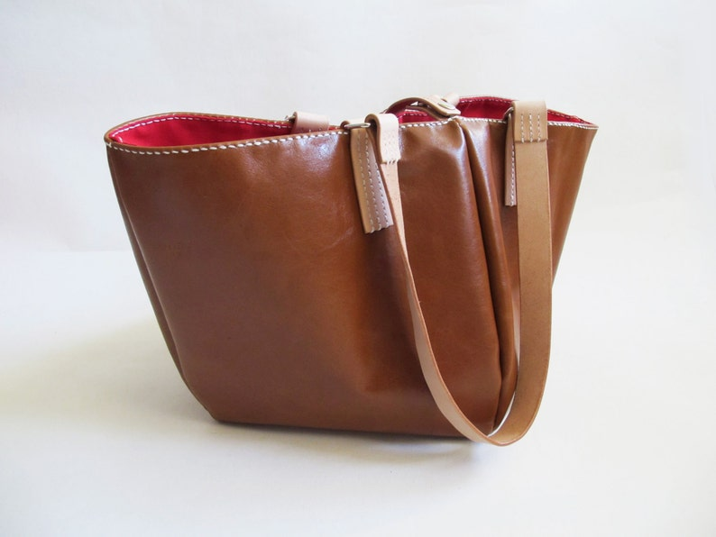 Brown Cowhide Leather Tote Bag With Red Lining Shopping Bag image 0
