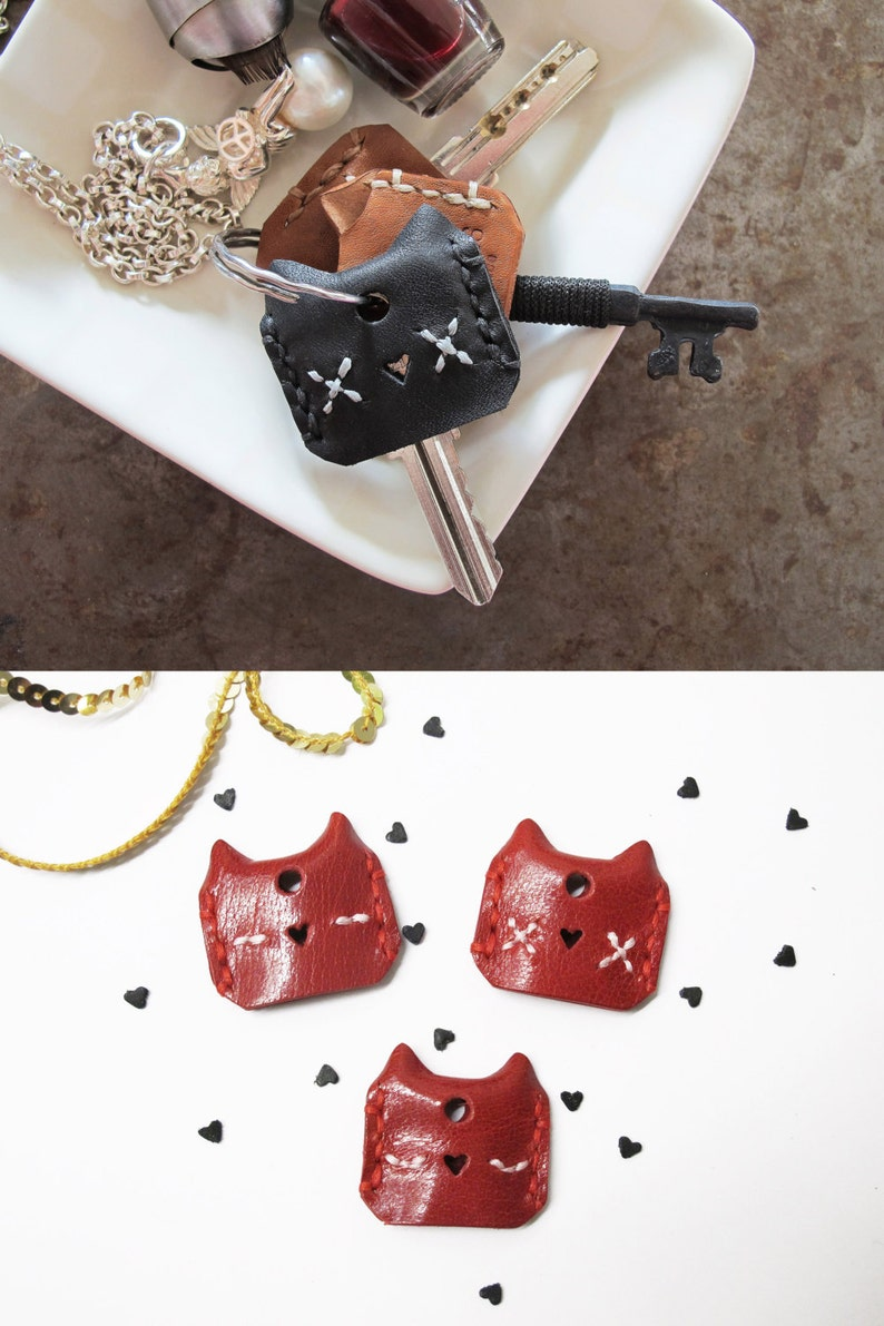 Meow Leather Cat Key Cover Set of 3 Set of 6 Hand image 0