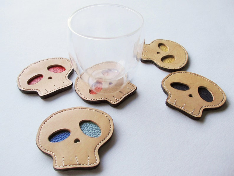 Hand-stitched Skull Leather Coasters Gift Set of 6 / image 0
