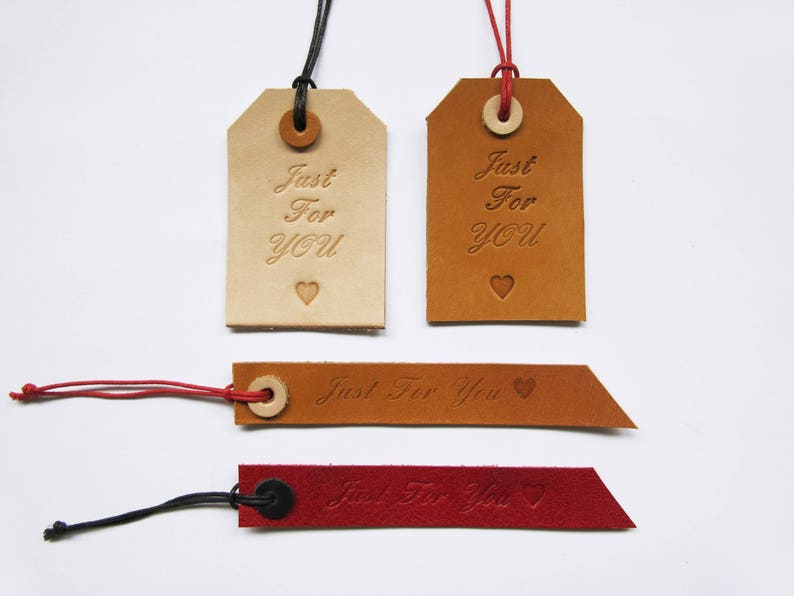 Leather Gift Tags Hand-stamped Gift Tags image 0
