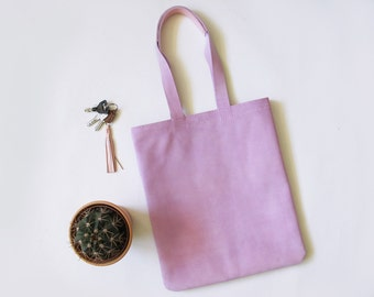 Lavender Suede Leather Tote Bag/ Everyday Bag/ Hand-Stitched/ Saddle Stitch