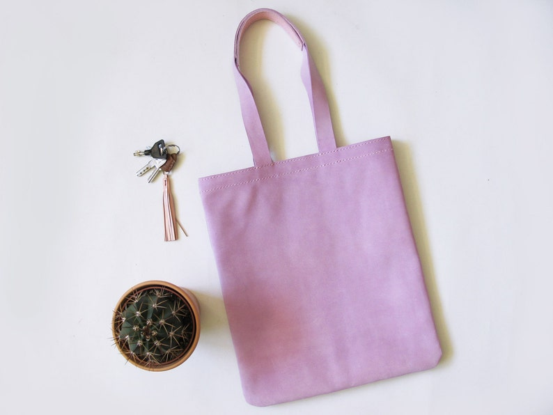 Lavender Suede Leather Tote Bag/ Everyday Bag/ Hand-Stitched/ image 0