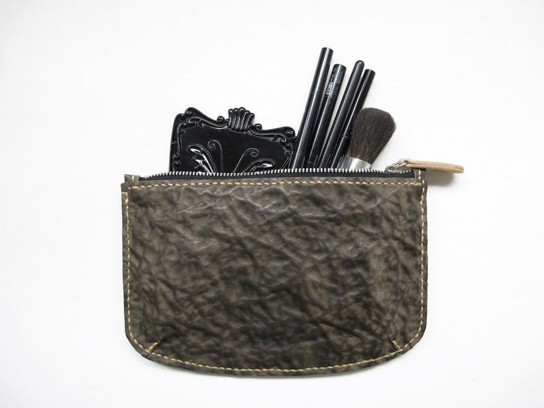 Brown Abstract Leather Zipper Clutch / Make Up Pouch/ image 0