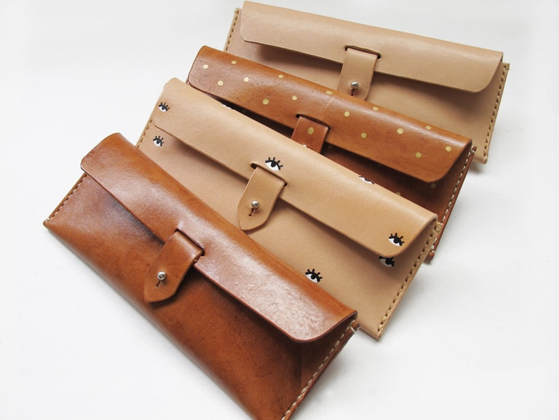 Natural Leather Pencil Case Multi Pouch 4 Color image 0