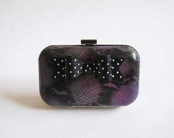 Little Black Bow Clutch Silver Dots /Symphony Lambskin Leather Clutch/ Handcrafted/ Handmade